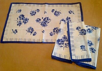 Four Vintage Placemats Or Tea Towels, Linen-Cotton, White With Dark Blue Flowers