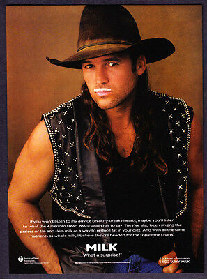 1995 Country Singer Billy Ray Cyrus photo MILK Mustache promo print ad