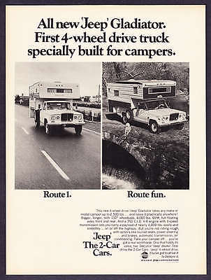 """1969 Jeep Gladiator Pickup Truck photo """"Built for Campers"""" promo print ad"""