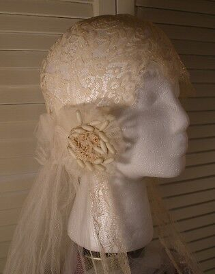 French Lace Bridal Veil from 1920's with Lace Cap