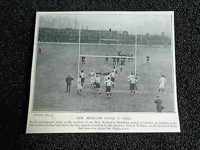 "NEW ZEALAND v MIDDLESEX RUGBY UNION @ Chelsea 1905 Approx 5""x 4"" ORIGINAL PRINT"