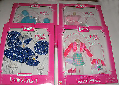 New Lot of 4 Fashion Avenue Barbie & Kelly Matchin' Styles Barbie Doll NRFB