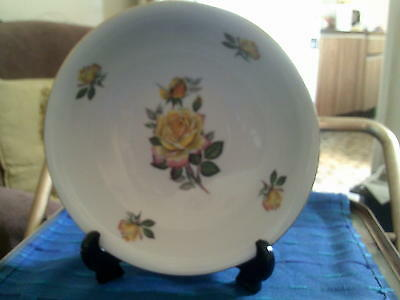Unmarked Large China Dessert Bowl Decorated With Yellow Roses