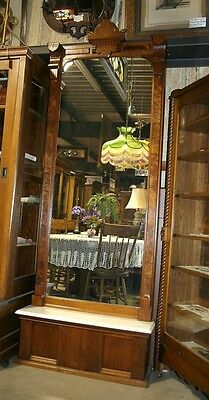 Burled Solid Walnut Pier Mirror White Gray Marble Ledge Hall Bedroom Antique OLD