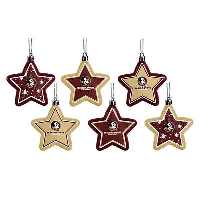 Florida State Seminoles Shatterproof Star Ornaments 6-Pack - NCAA