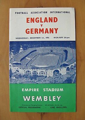 ENGLAND v WEST GERMANY 1954 *Excellent Condition Football Programme*