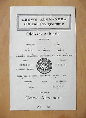CREWE ALEXANDRA v OLDHAM ATHLETIC 1945/1946 ?? *VG Condition Football Programme*