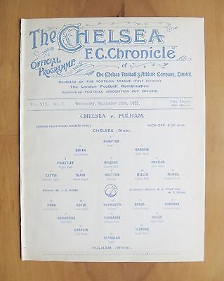 CHELSEA v FULHAM London Professional Charity Fund Friendly 1923/1924 *Exc Cond*