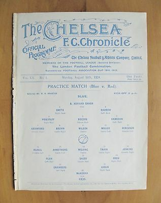 CHELSEA - Practice Match Friendly 1924/1925 (18th August) VG Condition Programme