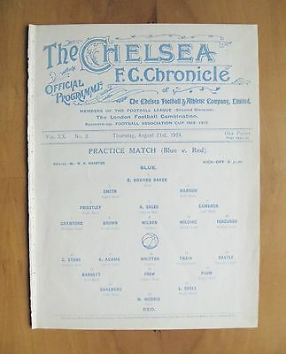 CHELSEA - Practice Match Friendly 1924/1925 (21st August) *Exc Cond Programme*