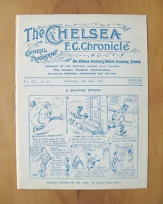 CHELSEA v MANCHESTER CITY 1923/1924 *VG Condition Football Programme*