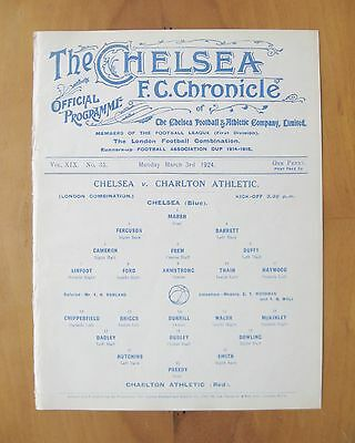 CHELSEA v CHARLTON ATHLETIC Reserves 1923/1924 (3rd March) *Exc Cond Programme*