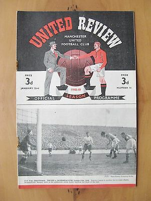 MANCHESTER UNITED v MANCHESTER CITY 1948/1949 *VG Condition Football Programme*