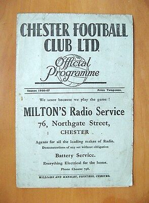 CHESTER v STOCKPORT COUNTY 1946/1947 *Good Condition Football Programme*