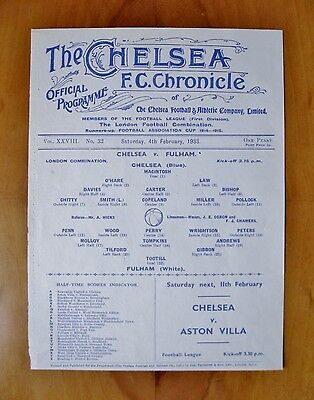 CHELSEA v FULHAM Reserves 1932/1933 *Excellent Condition Football Programme*