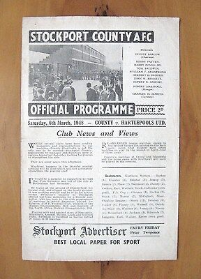 STOCKPORT COUNTY v HARTLEPOOL UNITED 1947/1948 *VG Condition Football Programme*