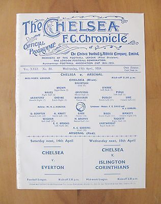CHELSEA v ARSENAL Reserves Midweek League 1933/1934 (11th April) *Exc Condition*