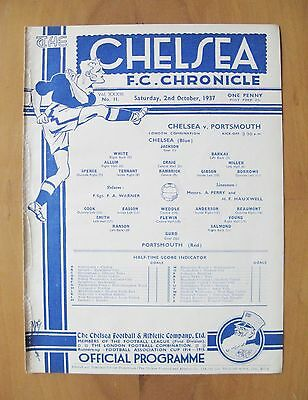 CHELSEA v PORTSMOUTH Reserves 1937/1938 *Excellent Condition Football Programme*