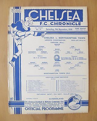 CHELSEA v NORTHAMPTON TOWN Reserves 1938/1939 *Exc Condition Football Programme*