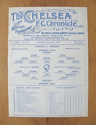CHELSEA v ARSENAL Reserves 1934/1935 *Excellent Condition Football Programme*