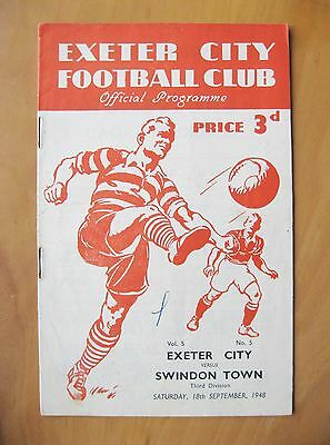 EXETER CITY v SWINDON TOWN 1948/1949 *Good Condition Football Programme*