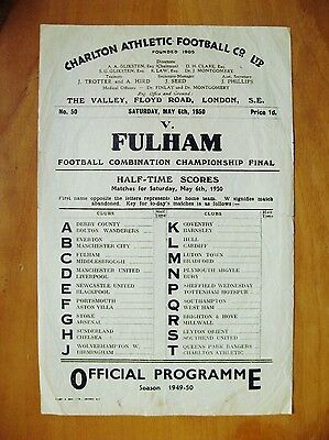CHARLTON ATHLETIC v FULHAM Reserves - Combination Cup Final 1950 *Rare S/Sheet*