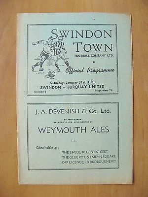 SWINDON TOWN v TORQUAY UNITED 1947/1948 *Excellent Condition Football Programme*