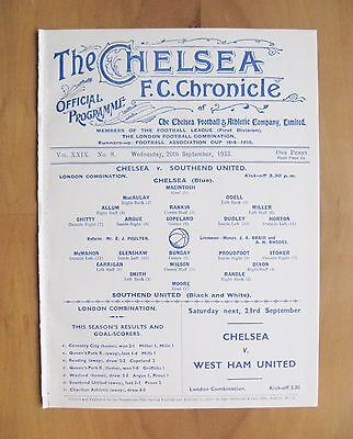 CHELSEA v SOUTHEND UNITED Reserves 1933/1934 *Exc Condition Football Programme*