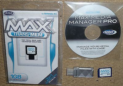 NINTENDO WII MAX MEDIA MANAGER SD & USB MEMORY CARD 1GB Datel Save Transfer 3in1