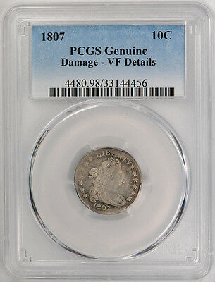 1807 10C Draped Bust Dime PCGS VF Very Fine Details Damaged