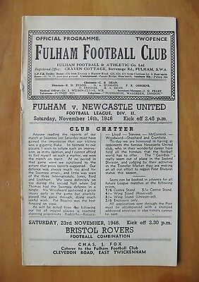 FULHAM v NEWCASTLE UNITED 1946/1947 *VG Condition Football Programme*