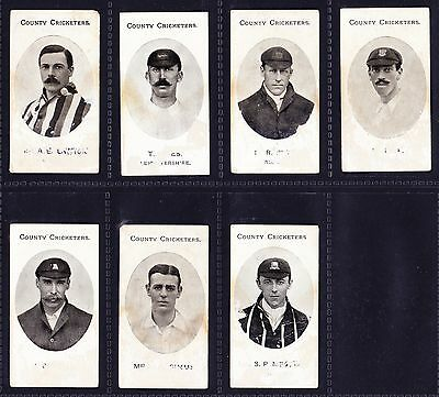 Taddy COUNTY CRICKETERS 1907 x 7 Cards *Poor Condition*