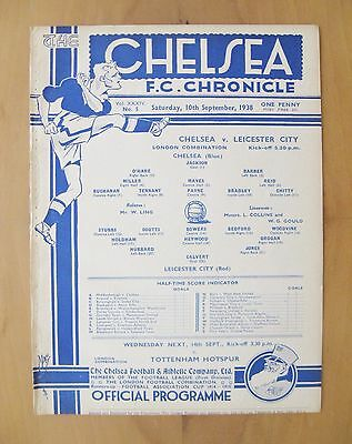CHELSEA v LEICESTER CITY Reserves 1938/1939 *Exc Condition Football Programme*