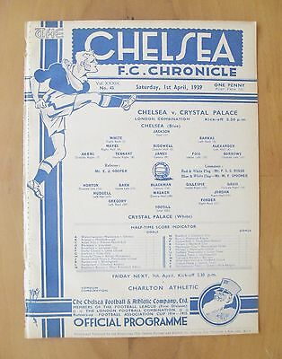 CHELSEA v CRYSTAL PALACE Reserves 1938/1939 *VG Condition Football Programme*