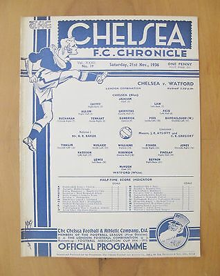 CHELSEA v WATFORD Reserves 1936/1937 *Excellent Condition Football Programme*