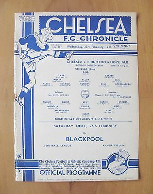 CHELSEA v BRIGHTON Reserves 1937/1938 *Excellent Condition Football Programme*