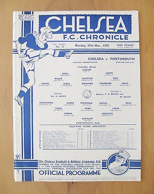 CHELSEA v PORTSMOUTH Reserves 1936/1937 *Excellent Condition Football Programme*