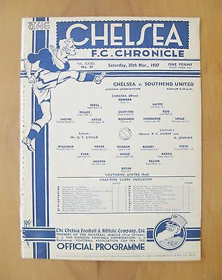 CHELSEA v SOUTHEND UNITED Reserves 1936/1937 *VG Condition Football Programme*