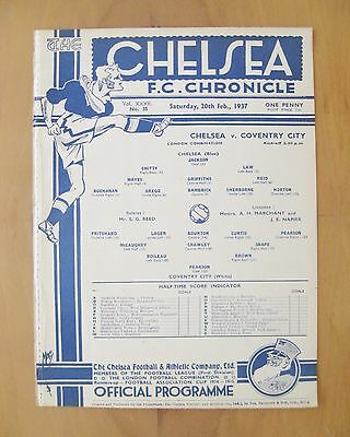 CHELSEA v COVENTRY CITY Reserves 1936/1937 *Exc Condition Football Programme*