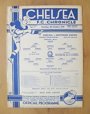 CHELSEA v SOUTHEND UNITED Reserves 1938/1939 *Exc Condition Football Programme*