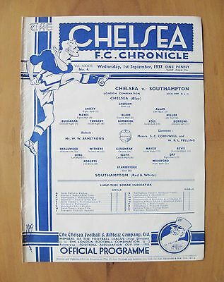 CHELSEA v SOUTHAMPTON Reserves 1937/1938 Excellent Condition Football Programme