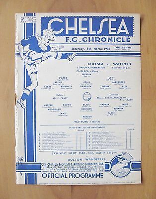 CHELSEA v WATFORD Reserves 1937/1938 *Excellent Condition Football Programme*
