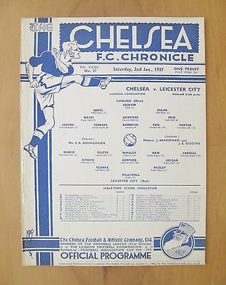 CHELSEA v LEICESTER CITY Reserves 1936/1937 *Exc Condition Football Programme*