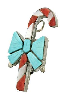 Stephen Lonjose, Multi-Stone Inlay, Christmas Pin, Pendant, Candy Cane, 1.5in