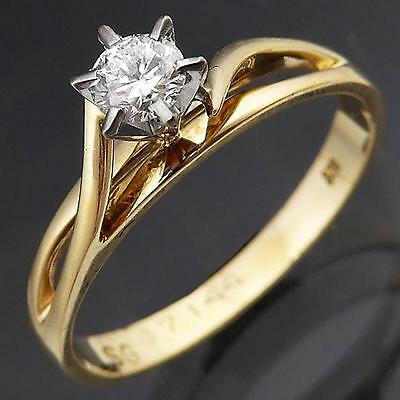 Budget 9ct Solid Yellow GOLD & Quality DIAMOND SOLITAIRE ENGAGEMENT RING Sz K1/2