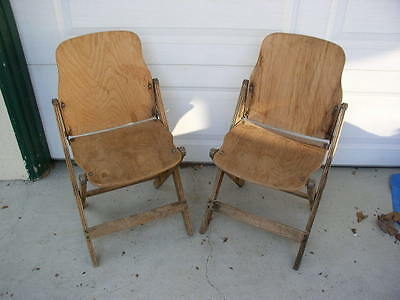 2 Vintage American Seating Company Wood Folding Chairs WWII Era