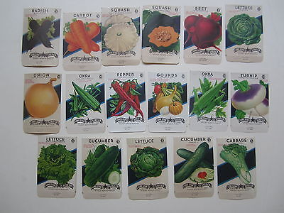 Lot of 17 Old Vintage 1930's - 1960's - VEGETABLE - SEED PACKETS