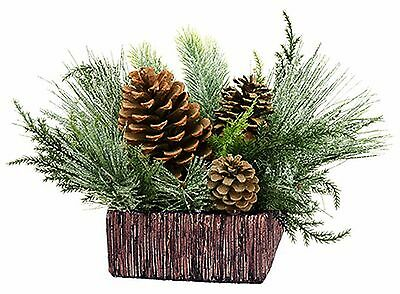 "Snow Pine Holiday Christmas Arrangement in Square Ceramic Pot 8"" NEW X-XLF604"