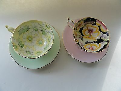 2 Paragon Cups And 2 Paragon Saucers Daisy Cup And Saucers Black Big Flower Cup