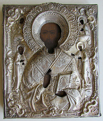 19th CENTURY ANTIQUE RUSSIAN ICON ST.NICHOLAS MIRACLEWORKER SILVER PLATED OKLAD